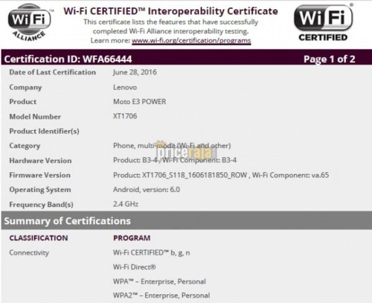 Moto E3 Power obtiene la certificación Wi-Fi, lanzamiento está cada vez más cerca
